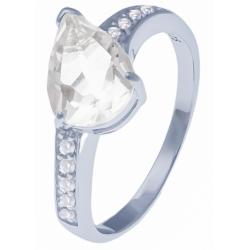 Bague en argent rhodié 2,7g - cristal de roche - topaze blanche - 1,6 carats - T50 à 60