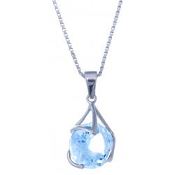 Collier en argent rhodié 3,5g - topaze bleue - 4,4 carats - 40 cm