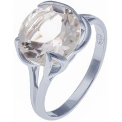 Bague en argent rhodié  3,1g - cristal de roche - 3,4 carats - T50 à 64