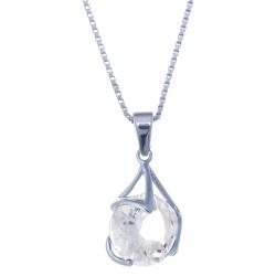 Collier en argent rhodié 3,5g - cristal de roche - 3,4 carats - 40 cm