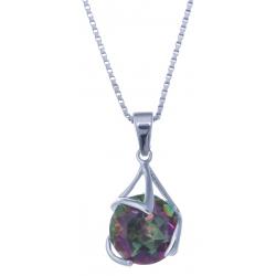 Collier en argent rhodié 3,5g - quartz mystic - 3,4 carats - 40 cm