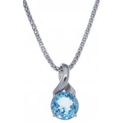 Collier en argent rhodié 4,2g - topaze bleue - 2,3 carats - 45cm