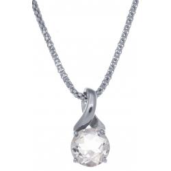 Collier en argent rhodié 4,2g - cristal de roche - 1,8 carat - 45cm