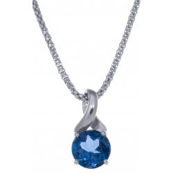 Collier en argent rhodié 4,2g - topaze bleue london - 2,3 carats - 45cm