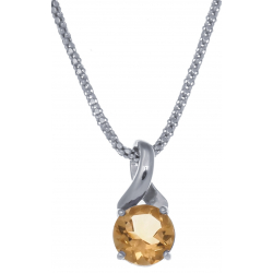 Collier en argent rhodié 4,2g - citrine - 1,8 carat - 45cm