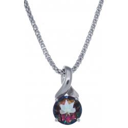 Collier en argent rhodié 4,2g - quartz mystic - 1,7 carat - 45cm