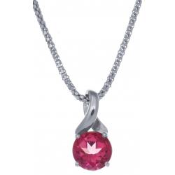 Collier en argent rhodié 4,2g - topaze enrobée rose - 2,4 carats - 45cm