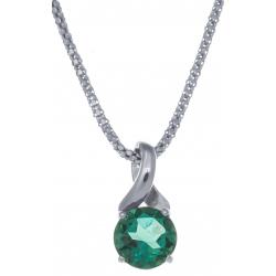 Collier en argent rhodié 4,2g - quartz vert - 1,8 carat - 45cm