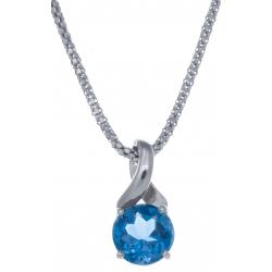 Collier en argent rhodié 4,2g - topaze bleue swiss - 2,4 carats - 45cm