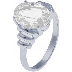 Bague en argent rhodié 3g - cristal de roche - 2,9 carats - T50 à 64