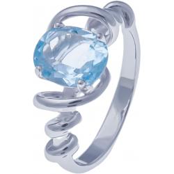 Bague en argent rhodié 3,4g - topaze bleue - 2,1 carat - T50 à 60
