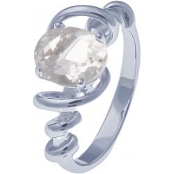Bague en argent rhodié 3,4g - cristal de roche - 1,6 carat - T50 à 60