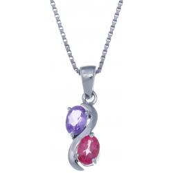 Collier en argent rhodié 3,4g - améthyste - topaze enrobée rose - 0,6 carat - 40cm