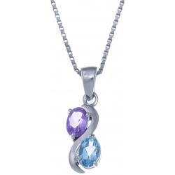 Collier en argent rhodié 3,4g - améthyste - topaze bleue - 0,6 carat - 40cm
