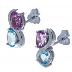Boucles d'oreille en argent rhodié 2,9g- améthyste - topaze bleue - 1,2 carat