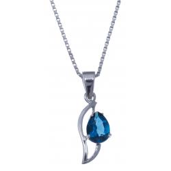 Collier en argent rhodié 3g - topaze bleue london - 1,2 carat - 40cm