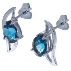 Boucles d'oreille en argent rhodié 2,1g - topaze bleue london - 2,4 carats