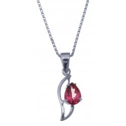 Collier en argent rhodié 3g - topaze enrobée rose - 1,2 carat - 40cm