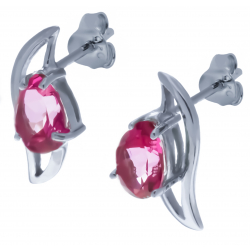 Boucles d'oreille en argent rhodié 2,1g - topaze enrobée rose - 2,5 carats