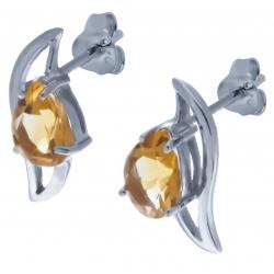 Boucles d'oreille en argent rhodié 2,1g  - citrine - 1,9 carat