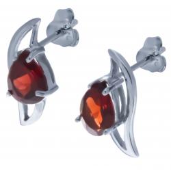 Boucles d'oreille en argent rhodié 2,1g  - grenat - 2,4 carats