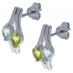 Boucles d'oreille en argent rhodié 2,6g  - topaze bleue - péridot - 0,8 carat