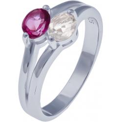 Bague en argent rhodié 3g - topaze enrobée rose - cristal de roche - 0,5 carat - T50 à 60