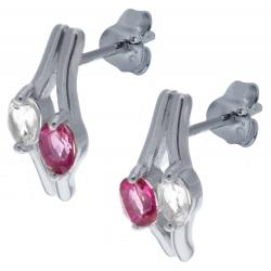 Boucles d'oreille en argent rhodié 2,6g  - topaze enrobée rose - cristal de roche - 1 carat