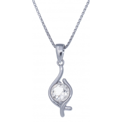 Collier en argent rhodié 3,4g - améthyste - topaze blanche - 0,5 carat - 40cm