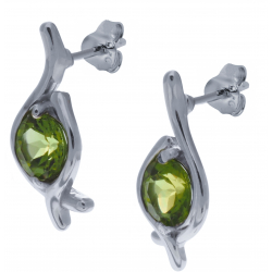 Boucles d'oreille en argent rhodié 2,9g - péridot - 1,9 carats