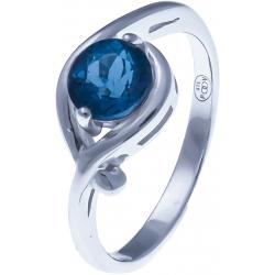 Bague en argent rhodié 1,7g - topaze bleue swiss - 1,2 carat - T50 à 60