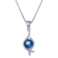 Collier en argent rhodié 3g - topaze bleue swiss - 1,2 carat - 40cm