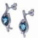 Boucles d'oreille en argent rhodié 2,1g  - topaze bleue swiss - 2,5 carats