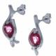 Boucles d'oreille en argent rhodié 2,1g  - cristal de roche - 2 carats