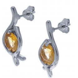 Boucles d'oreille en argent rhodié 2,1g  - péridot - 2,3 carats