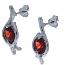 Boucles d'oreille en argent rhodié 2,9g - grenat - 1,9 carats