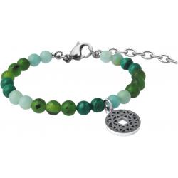 Bracelet STILIVITA en acier - Collection équilibre - AME D'ENFANT - jade néphrite - malachite - amazonite - chakra coeur -17+4cm