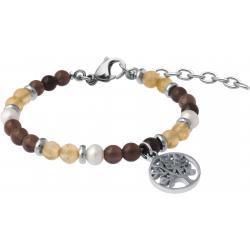 Bracelet STILIVITA en acier-Collection équilibre-ÉNERGIE ET CONCENTRATION-citrine-quartz fumé - perles - arbre de vie - 17+4cm