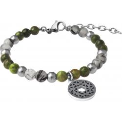 Bracelet STILIVITA en acier - Collection équilibre - JOIE DE VIVRE - tourmaline verte - quartz tourmaliné - chakra coeur- 17+4cm