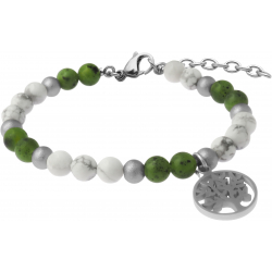 Bracelet STILIVITA en acier-Collection équilibre-DISCERNEMENT ET EQUILIBRE-howlite blanche-jade néphrite - arbre de vie - 17+4cm
