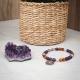 Bracelet STILIVITA en acier-Collection Médecine douce-AUTO GUÉRISON-améthyste-cristal de roche - ambre - chakra gorge -  17+4cm