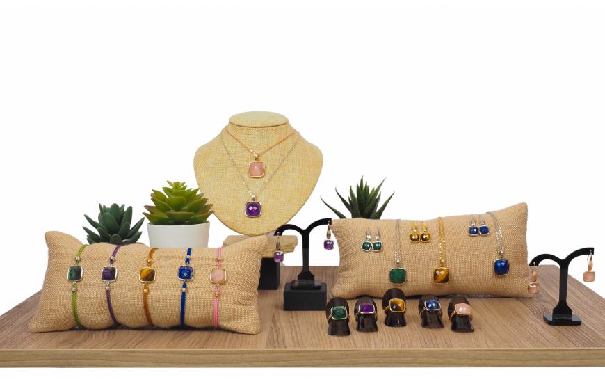 Collection YOLA Printemps / Été 2021 - coussins pierres naturelles facettées